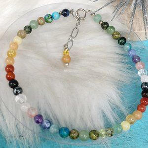 Multi-color Gemstone 4mm Round Beaded 925 Bracelet